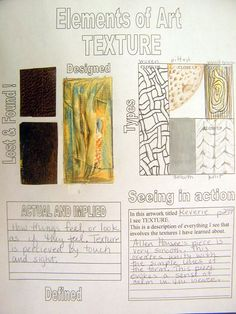 Texture--there is a whole series of these for the elements and principles Elements Of Art Texture, Elements And Principles, Texture Art, Art Elements, Intro To Art, Art Handouts, 8th Grade Art, Art Basics, Art Worksheets