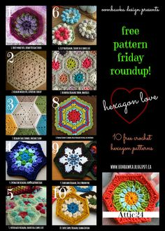 Free Pattern Friday Roundup - 10 Free Hexagon Patterns, by Rhondda of Oombawka Design . . . .   ღTrish W ~ http://www.pinterest.com/trishw/  . . . .  #crochet