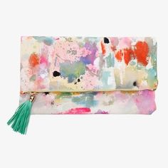 Large Hand Painted Multicolor Canvas Clutch with Leather Tassel Leather Tassel, Leather Purses, Leather Handle, Painted Bags, Hand Painted Canvas, Diy Clutch, Clutch Bag, Foldover Clutch, Fendi Clutch