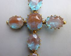 ANTIQUE-LARGE-VICTORIAN-FACETED-SAPHIRET-CROSS-PENDANT-GOOD-COLOUR