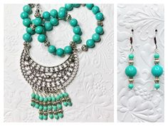 Turquoise glass and metal beads create a perfect match for this boho set! Necklace is approximately 18 inches Earrings are approximately 2 inches Turquoise Glass, Turquoise Necklace, Ladybug Jewelry, Christmas Tree Earrings, Earring Tree, White Stone, Metal Beads, Perfect Match, Boho