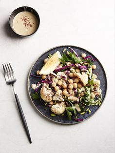 Roast Cauliflower and Chickpea Salad with Tahini Dressing. Recipe and styling – Lucy Feagins, styling assistant – Nat Turnbull, photo – Eve Wilson on thedesignfiles.net