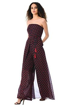 0e9e166e370 Fashion Bug Women s Graphic Leaf Print Georgette Strapless Palazzo Jumpsuit  S-6 Regular www.