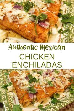 Authentic Enchilada Recipe, Enchilada Recipes, Mexican Appetizers, Mexican Dinner Recipes, Authentic Mexican Chicken Recipes, Authentic Mexican Tacos, Authentic Chicken Tacos, Mexican Dinners, Mexican Snacks