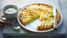 French apple tart with calvados and Chantilly cream