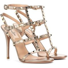 Valentino Valentino Garavani Rockstud Leather Sandals (25,205 HNL) ❤ liked on Polyvore featuring shoes, sandals, heels, valentino, metallic, beige shoes, leather footwear, beige heeled sandals, real leather shoes and metallic sandals