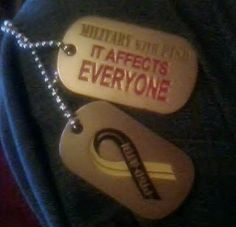 $8.50 Free Shipping. Military With PTSD dogtag set engraved with the PTSD/TBI Ribbon and Slogan