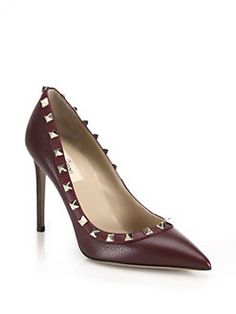 Valentino - Rockstud Leather Point-Toe Pumps