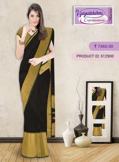 #Blacksilksaree #Traditionalwear #Vijayalakshmisilks #OnlineShopping Attractive Black color Silk Saree with the plain body.Saree comes with Gatti zari with temple design in border and pallu.Saree comes with plain black color blouse piece with border.Beautiful saree goes well with traditional,functions,casual wear. http://www.vijayalakshmisilks.com/silk-saree-5