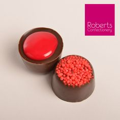 Fill your chocolates with delicious Fondant Creme! We've used the Roberts Confectionery Large Liqueur Chocolate Mould (number 15) - then sprinkled the bottom of the mould with Roberts Confectionery Red non pareils - filled with Roberts Confectionery Raspberry Fondant Creme... delicious!