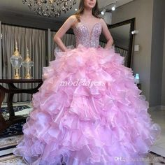 14a15c5731c4 Luxury Crystal Pink Ball Gown Quinceanera Dresses 2019 Sweet Heart  Cascading Ruffles Beads Prom Party Gowns For Sweet 15 vestidos de 15 anos