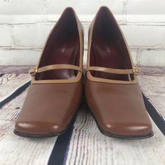 "Nine West Womens Size 8 Pumps Brown Leather Mary Jane Ballet Heel Dress Shoe  3"" #NineWest #MaryJanes #WeartoWork"