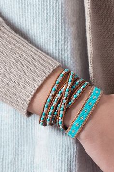 Like the colors in this wrap. Mini Turquoise and Nephrite Jade Wrap Bracelet on Brown Leather Shop: www.talulahlee.com #wrapbracelets #turquoise #jade #leatherbracelets