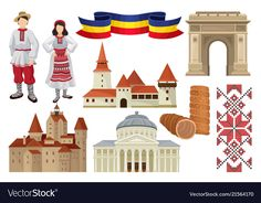 Flat set of cultural symbols of romania vector image on VectorStock Vector Icons, Vector Free, Historical Architecture, Preschool Activities, Folk Art, Symbols, Culture, Costumes, Traditional