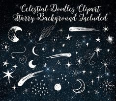 Celestial Doodles Clipart, digital hand drawn sketched moon and stars, night sky galaxy doodle stardust clip art png gold foil black & white Celestial Clipart Moon and Stars Doodle by OriginsDigitalCurio Star Doodle, Doodle Art, Star Illustration, Arte Sketchbook, Chalkboard Art, Doodle Drawings, Chalk Art, Fabric Painting, Stars And Moon