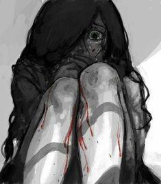 Haaa creepy but what a beautiful art omg creepy anime Writing Inspiration, Character Inspiration, Character Design, Sad Anime, Anime Art, Anime Triste, Creation Art, Arte Obscura, Yandere