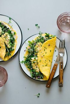 """Breakfast For Dinner: """"Cream Cheese"""" Omelettes w/ Balsamic Greens 