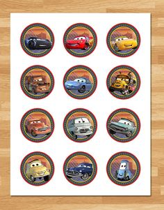 Printable Instant Download Cars 3 Cupcake Toppers - 2 inch Circles This adorable set of Cars 3 Cupcake Toppers is the perfect way to decorate for your little ones birthday party! ===================== Whats Included? ===================== * 1 High Resolution PDF thats 8.5x11
