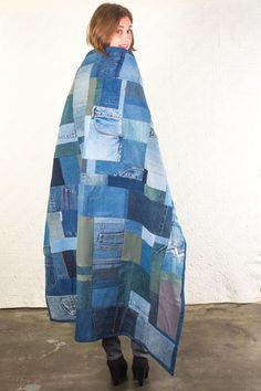 Custom Handmade Recycled Denim Throw Quilt, Recycled and Special - Custom Handmade Recycled Denim Throw Quilt, Recycled and Special Blue Jean Quilts, Denim Quilts, Amo Jeans, Denim Scraps, Recycling, Baby Mobile, Denim Ideas, Recycled Denim, Recycled Shirts