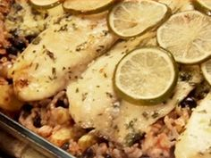 Baked Costa Rican-Style Tilapia with Pineapples, Black Beans and Rice