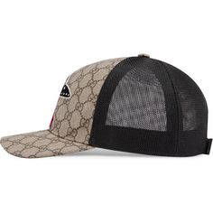 Gucci Gg Supreme Baseball Hat With Ufo (570 AUD) ❤ liked on Polyvore featuring men's fashion, men's accessories, men's hats, beige, mens baseball hats, mens hats, mens baseball caps and mens ball caps