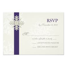 Snowflake Winter Wedding RSVP Purple Cream Personalized Invites