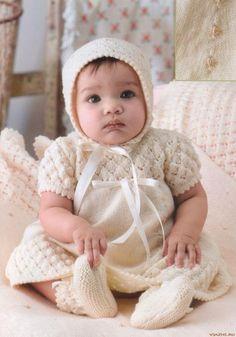 Beyaz örgü bebek elbise   Örgü Modelleri - Örgü Dantel Modelleri