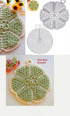 Flower Potholders Coasters [Free Crochet Pattern and Tutorial] Crochet Potholders, Crochet Blocks, Crochet Chart, Crochet Squares, Crochet Motif, Crochet Doilies, Crochet Stitches, Crochet Flower Patterns, Crochet Flowers
