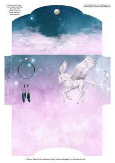 This is a money wallet with a unicorn and a dream catcher.  to make print on quality paper, cut around the outside edges, score and fold, glue the side tabs to the bottom to make a pocket.  This is just some of the ideas that you could use this item for  Insert money, coupons, certificates for free baby sitting or free pass's