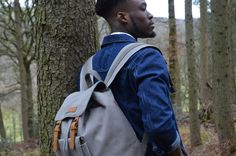 Kurtis Paul Mens Canvas Backpack / Rucksack in Overcast Grey