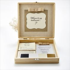 Shi  Uri | Shabby Chic Bride bridesmaid box made with different burlaps. How will you make asking your girls special?