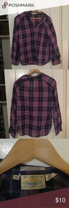 Plaid Half Button Up Purple and dark blue wide plaid. Thin material so it's cool and lightweight. It fits more like an 8 than a 10 Levi Strauss & Co Tops Tees - Long Sleeve