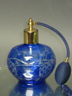 Vintage blue crystal perfume atomizer. (I'm on a kick, what can I say...)