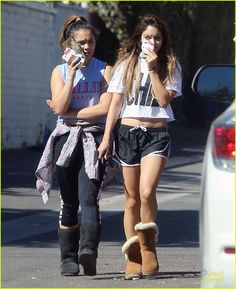 : Photo Vanessa Hudgens hides her face with her Hello Kitty cased phone on Friday afternoon in Studio City, Calif. Along with younger sister Stella, the actress… Furry Boots, Ugg Boots, Stella Hudgens, Vanessa Hudgens Style, Friday Workout, Old Actress, Sexy Boots, Woman Crush, Uggs
