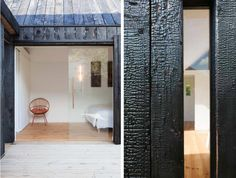 modern charred wood cottage in Brittany - click through to Gardenista for more about shou-sugi-ban, the technique of charring wood