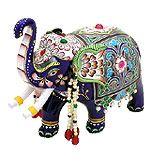 Hand-crafted silver (purity 92.5 %) elephant with glass-enameling ( Meenakari ) from  Varanasi, Uttar Pradesh, India