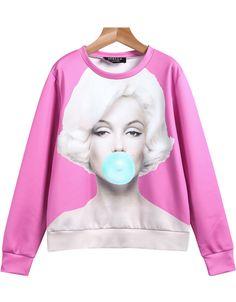 Shop Pink Long Sleeve Monroe Print Loose Sweatshirt online. Sheinside offers Pink Long Sleeve Monroe Print Loose Sweatshirt & more to fit your fashionable needs. Free Shipping Worldwide!