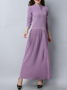 Shop Sweater Dresses - Solid Stand Collar Long Sleeve A-line Casual Maxi Dress online. Discover unique designers fashion at StyleWe.com.