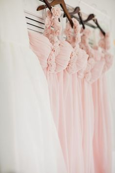 Pink is my favorite color. And delicate pink bridesmaid dresses? Blush Bridesmaid Dresses, Wedding Bridesmaids, Wedding Dresses, Blush Dresses, Bridesmaid Color, Girls Dresses, Pink Gowns, Perfect Wedding, Dream Wedding