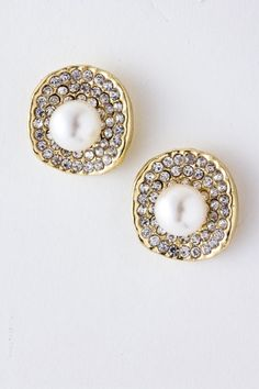 Golden Pearl Crystal Earrings.