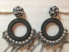 Lamora Silk Thread Earrings, Thread Jewellery, Textile Jewelry, Feather Earrings, Beaded Earrings, Earrings Handmade, Beaded Jewelry, Crochet Earrings, Tatting Jewelry
