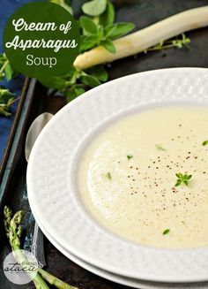 Cream of Asparagus Soup. This is a smooth and velvety soup recipe made with delicious white asparagus. The soup is thick like a sauce--and healthy too! You'd never think of cream of asparagus soup for dinner--but with this kind of flavor, you will from now on!