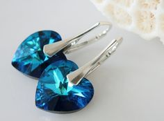 Swarovski Crystal Earrings Bermuda Blue by crystalglowdesign