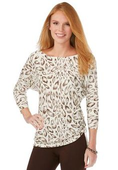 Cato Fashions Animal Print Ruched Side Sweater #CatoFashions