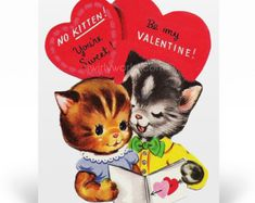 Vintage 1950s Kitten Valentine's Day Cards, 1950s Vintage Valentine Cards, Printed Vintage 1950s Style Valentine Cards for Children, VAL224