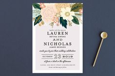 """""""Classic Floral"""" - Floral & Botanical Wedding Invitations in Spring Blush by Alethea and Ruth."""