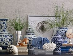 Ginger jars and corals.Beach Chic ~ This has awesome room and patio displays in different styles; Chinoiserie, Blue And White China, Blue China, Coastal Living, Coastal Decor, Coastal Style, Home Interior, Interior Design, Interior Doors