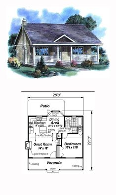 House Plan 58515 - Country Style House Plan with 614 Sq Ft, 1 Bed, 1 Bath Tyni House, Tiny House Cabin, Sims House, Tiny House Living, Tiny House Design, Small House Floor Plans, Cottage Floor Plans, Cottage Plan, Small Cottages