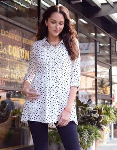 Polka Dot Button Down Maternity Blouse | Seraphine, polka dot shirt, stylish maternity tops, work wear for pregnant moms