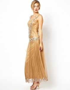 Frock and Frill Maxi Dress with Sequin Embellishment Wish they had it in different colors!